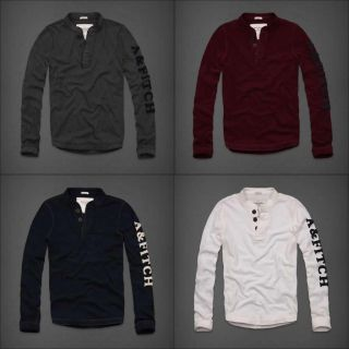 Abercrombie & Fitch, A&F Mens Shirts, Henleys Long Sleeve Tees Shirt