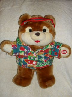 Unusual 16 inch Hello Teddy Interactive Bear Sports Shirt and Visor