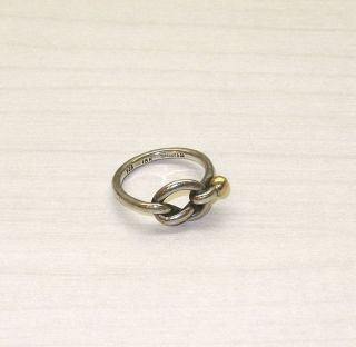 Tiffany Co Love Knot Ring 925 18K Gold Signed Size 5