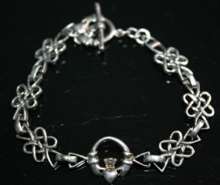 SILVER CELTIC TRINITY KNOT FRIENDSHIP LOYALTY IRISH CLADDAGH BRACELET