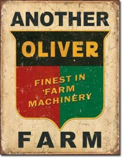 Collector Tin Sign Oliver Logo Farm Tractor Ad Pull Finest in Farm