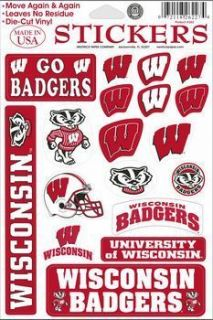 New University of Wisconsin Badgers Decal Stickers Sheet College Dorm