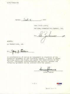 Lorne Greene Signed Document Auto PSA Bonanza Ben