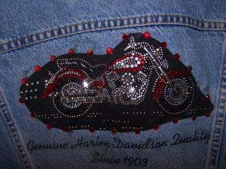 Levi Strauss Beaded Harley Davidson Jean Jacket Ladies Small S4180