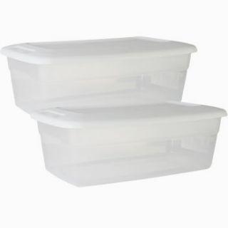 Plastic Storage Boxes w Lids 6 Quart Shoe Storage Closet Organize