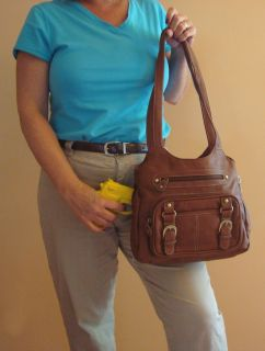 Louise Concealed Carry Purse Tan Leather