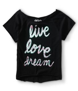 Womens Cropped Sequined Live Love Dream Dorm Tee Shirt