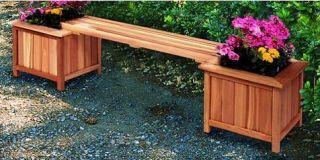 New Outdoor Wood Bench Planter Combo Garden Deck Flower Pot Patio