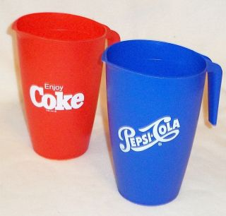 Set Of 2 Pepsi Cola Coke Coca Cola Blue Red Plastic Beverage Pitchers