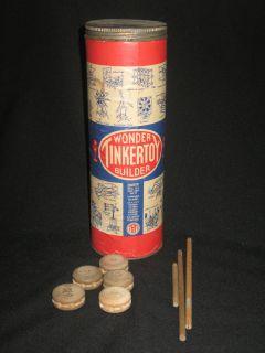 TINKER TOYS    VINTAGE 1940S/ 1950S    WONDER BUILDER SET    VERY
