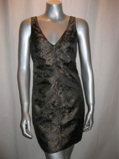 148 MSSP Max Studio Black Gold Print Dress Sz S