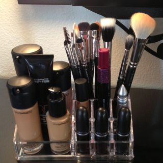 Mac Makeup Clear Acrylic Vanity Lipstick Organizer Storage Brush