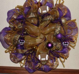 Wreath Purple Gold Deco Mesh LSU Fans Footballs Beads Tiger Ribbon 27