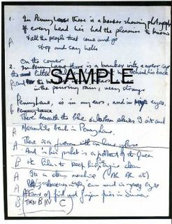 Beatles Paul McCartney Handwritten Lyrics Penny Lane