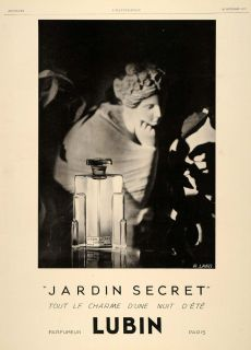1929 Ad French Secret Garden Perfume Lubin Paris Jardin Original