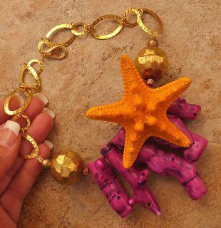 Pink Purple Big Branch Coral Real Orange Starfish Necklace Gold Ocean