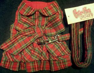Sweetheart Dress w matching leash Red Plaid by Cha Cha Couture Size S