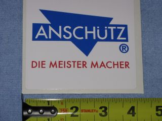 ANSCHUTZ FIREARMS DIE MEISTER MACHER DECAL STICKER OLYMPIC RIFLE GUN