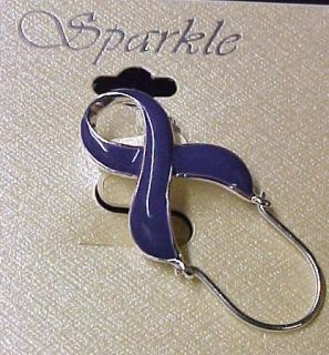 Relay for Life Purple Ribbon ID Badge Holder Pin Lupus