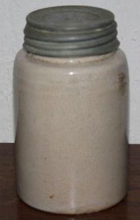Antique Macomb Pottery Stoneware Lidded Canning Jar 1899 Vtg