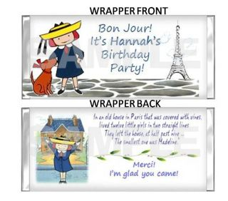 Madeline Paris Candy Bar Wrappers Birthday Party Favor