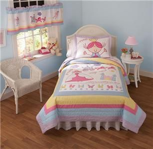 Girl Princess Castle Pink Blue Twin Quilt Sham Set