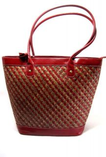 Magid Herringbone Matte Tote Red Natural Straw One Size