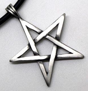 Magic Star Pentagram Pentacle Pagan Wicca Silver Pewter Pendant w