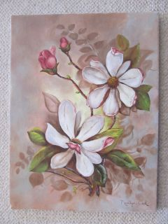 PAINTING ESTATE FIND SIGNED FLORAL MAGNOLIA BLOSSOMS FLOWERS 12 x 16