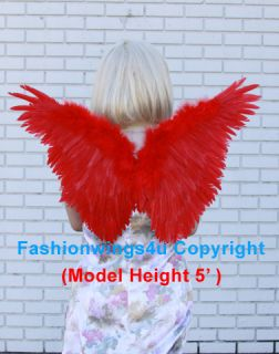 Red Bird Butterfly Macaw Angel Fairy Costume Feather Wings