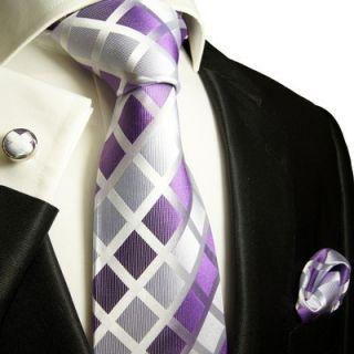 466CH Lavender Paul Malone Silk Necktie Set 100 Silk Hanky Cufflinks