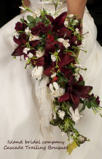 Bride Wedding Bouquet Burgundy Ivory Lily Rose 14pc