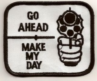 Go Ahead Make My Day Funny Embroidered Biker Vest Patch