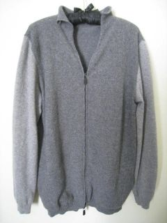 Malo Mens Grey Two Tone Cashmere Full Zip Up Sweater 50