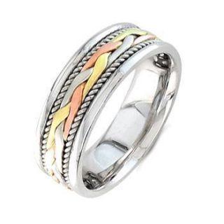 Mens Man Braided Wedding Band Ring 14k 3 Tone Gold