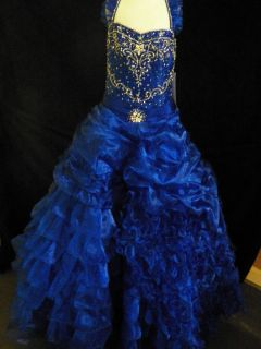 National Pageant Dress Little Rosie Glitz Royal Blue Size 8