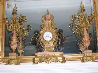 IMPERIAL LARGE MANTAL CLOCK 2 CANDELABRAS BRASS BRONZE MARBLE SET WITH