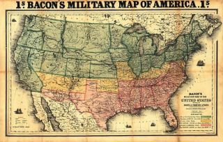 Civil War Bacons Military Map United States