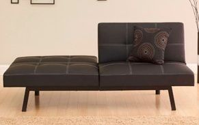 Black Faux Leather Futon Klik Klak Sleeper Sofa Bed New