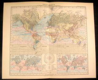 World Map w Wind Currents Nice 1889 Stieler Antique Folio Map w Hand