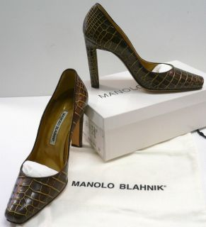MANOLO BLAHNIK Alligator Crocodile CAROLYN High Heel Pumps Shoes Bag