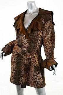 MARENGO Brown Animal Print Pony Hair COAT W/Belt FABULOUS Very Soft