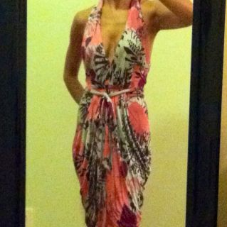 Marciano XS Dress Pink Purple Grey Halter Open Back Sexy Bubble Dress