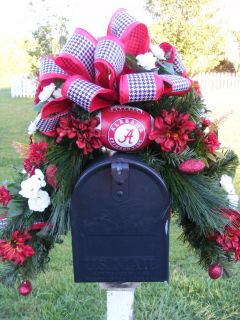 PETAL PUSHERS ALABAMA CRIMSON TIDE BAMA MAILBOX SWAG WREATH DECORATION