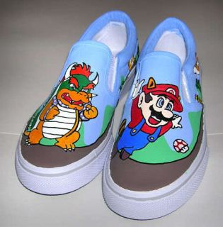 Hand Painted Super Mario Brothers Kids Shoes