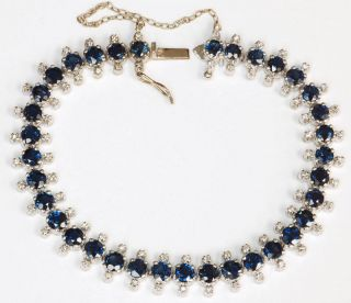 10KW Gold Blue Sapphires Diamonds Bracelet 8 00 Carats