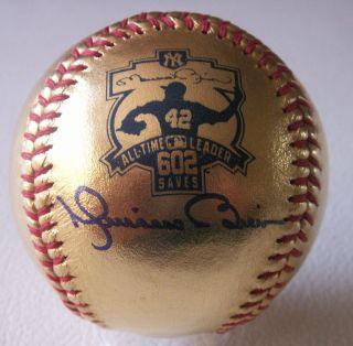 MARIANO RIVERA NY YANKEES SIGNED ML 24 KT Gold Leather BASEBALL With