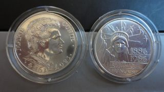 lovely silver coins of 100 francs from France Marie Curie and Liberty