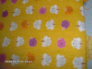 FQ Heather Ross Fabric GOLD ROSES Cotton FAR AWAY 2 Linen Quilt
