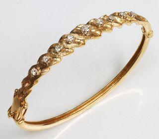 14k Gold Diamond Vintage Bangle Bracelet